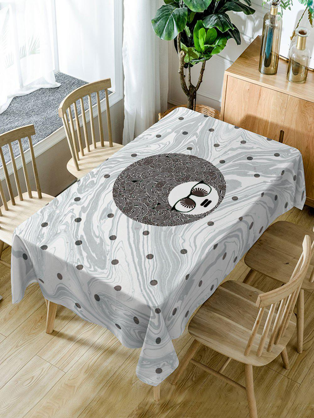 Man Head and Spot Print Dining Table Cloth - GRAY W54 INCH * L54 INCH