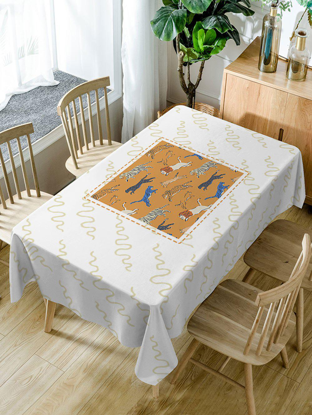 Waterproof Animal Zoo Print Dining Table Cloth - WHITE W54 INCH * L72 INCH