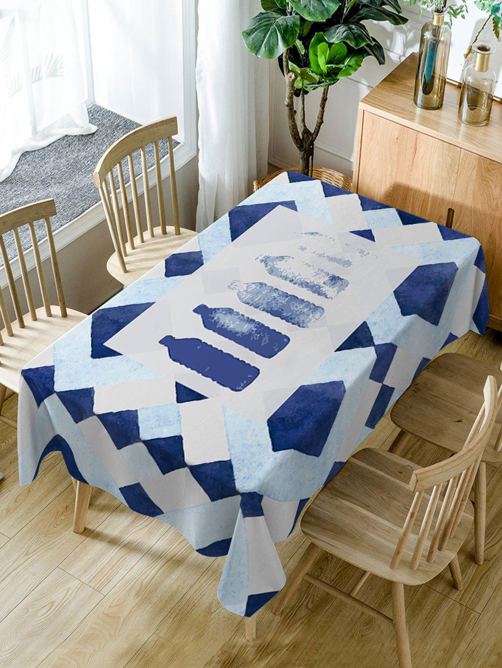 Waterproof Bottle Print Dining Table Cloth - DEEP BLUE W60 INCH * L84 INCH