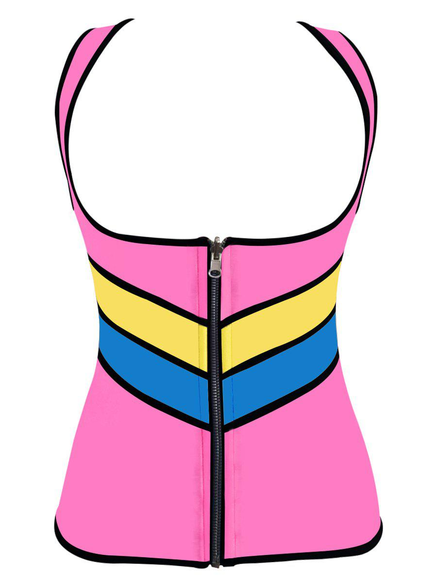 Plus Size Underbust Color Block Training Vest - PINK XL