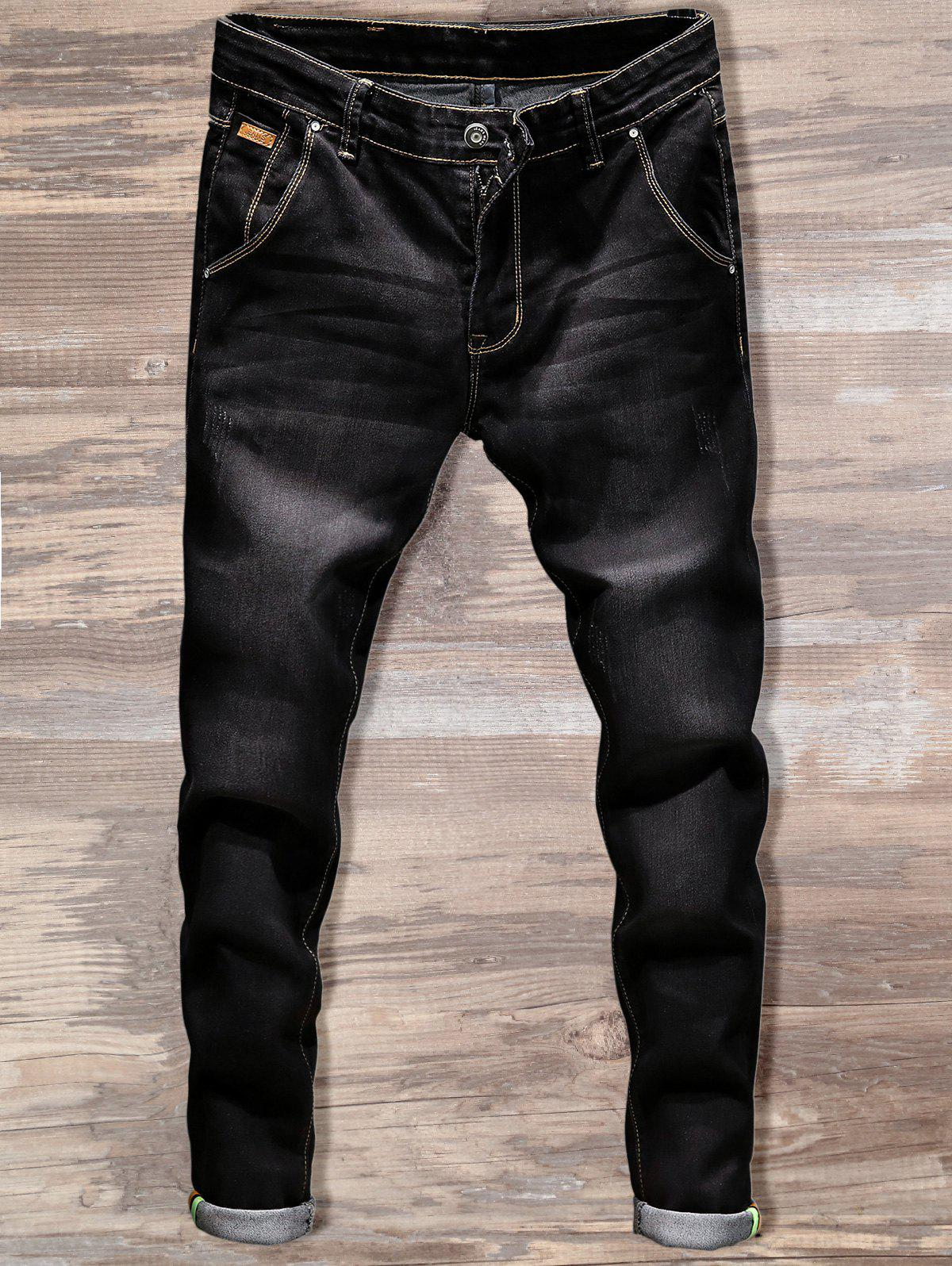 Casual Slim Fit Straight Leg Jeans - BLACK 34