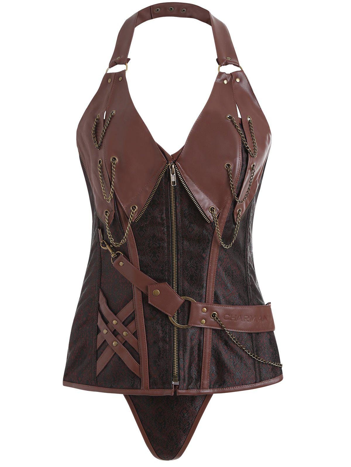 Zipper Retro Punk Corset Vest - BROWN XL