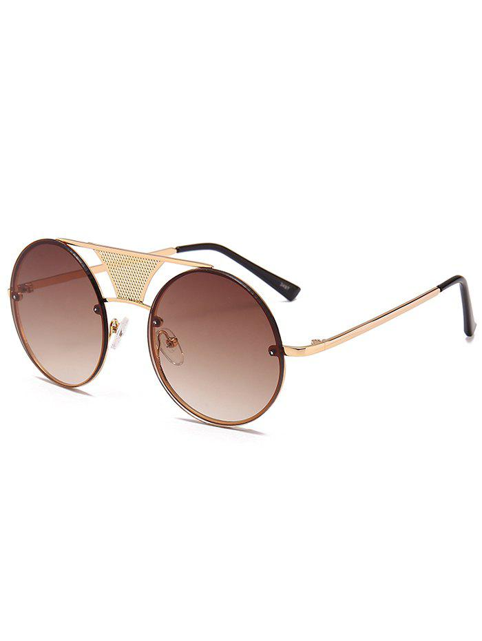 Anti-fatigue Hollow Out Metal Bar Round Sunglasses - GOLD FRAME / DARK BROWN LENS