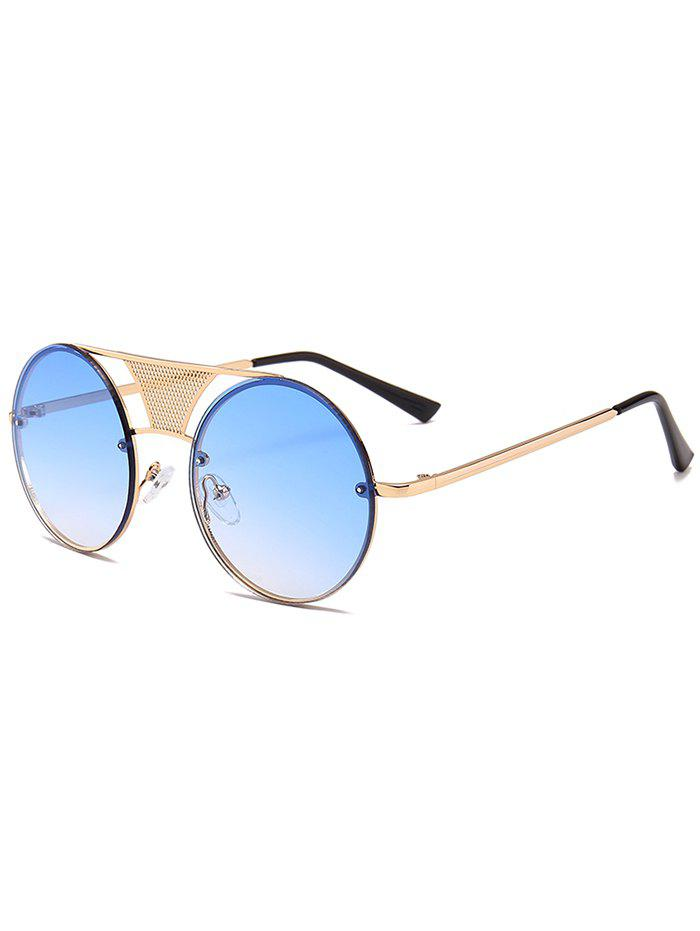 Anti-fatigue Hollow Out Metal Bar Round Sunglasses - GRADUAL BLUE