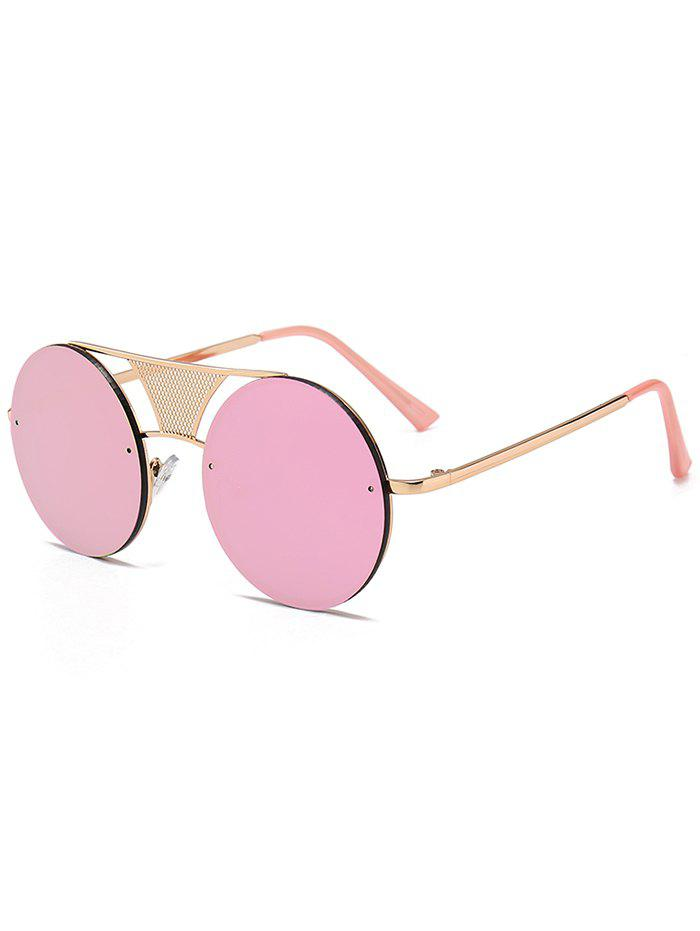 Anti-fatigue Hollow Out Metal Bar Round Sunglasses - PURPLE/PINK