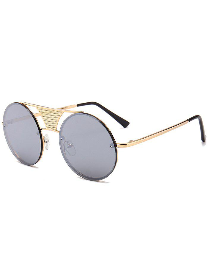 Anti-fatigue Hollow Out Metal Bar Round Sunglasses - REFLECTIVE WHITE COLOR