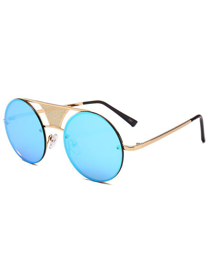 Anti-fatigue Hollow Out Metal Bar Round Sunglasses - ICE BLUE