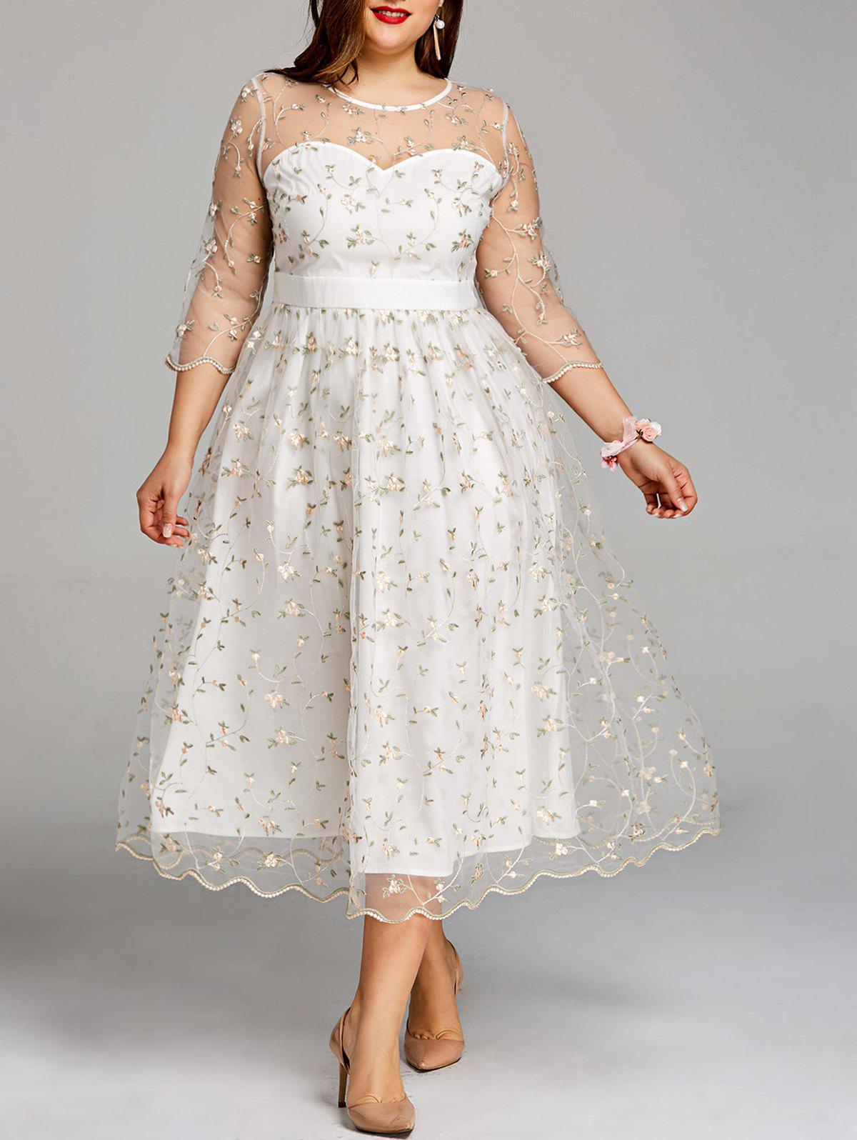 Plus Size Sheer Embroidery Tiny Floral Tulle Dress tiny floral chiffon plus size slip handkerchief dress