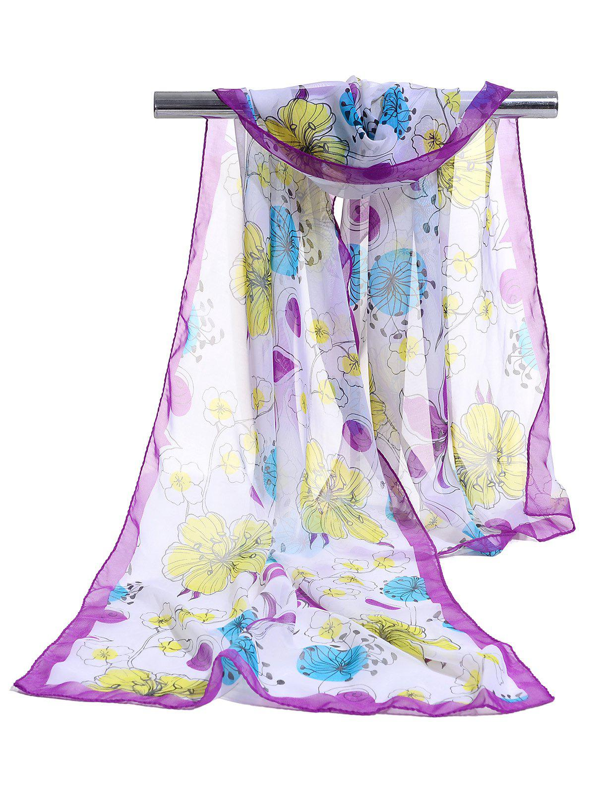 Blooming Floral Pattern Lightweight Chiffon Scarf - PURPLE