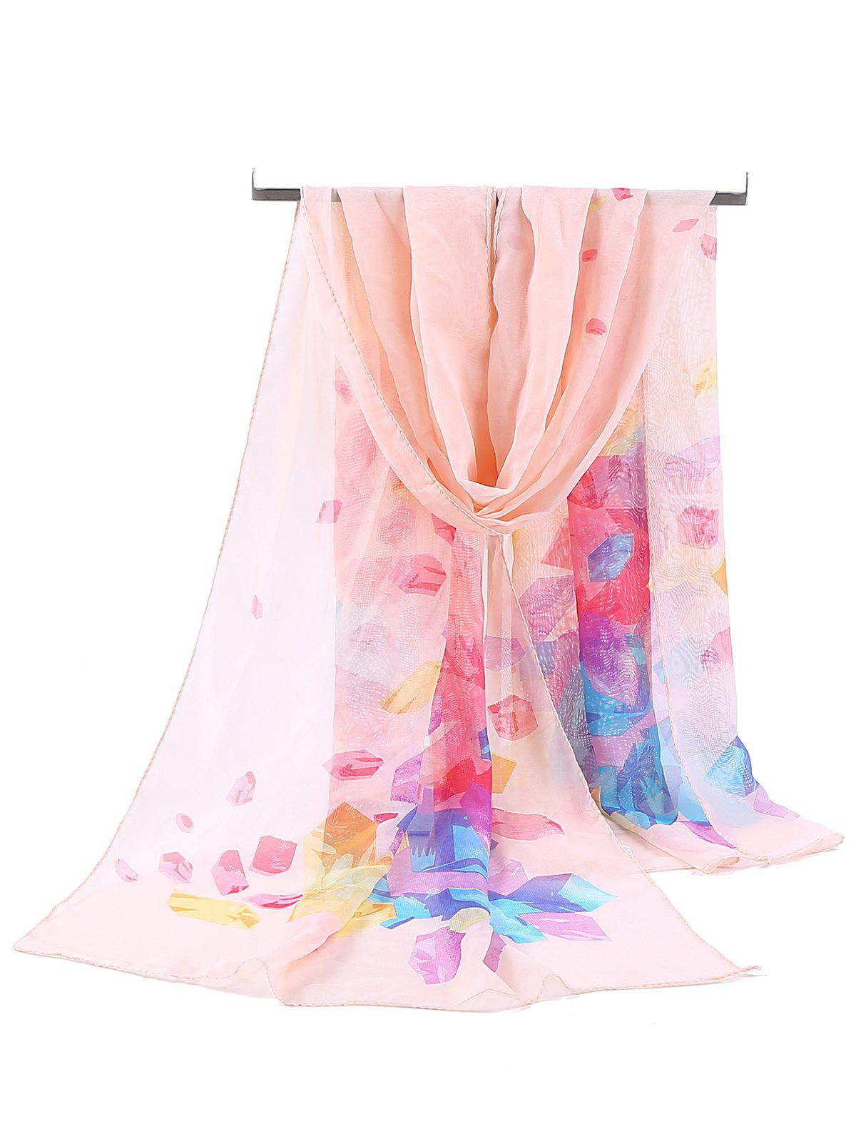 Floral Pattern Printed Chiffon Spring Fall Scarf - SNOW BUD COLOR