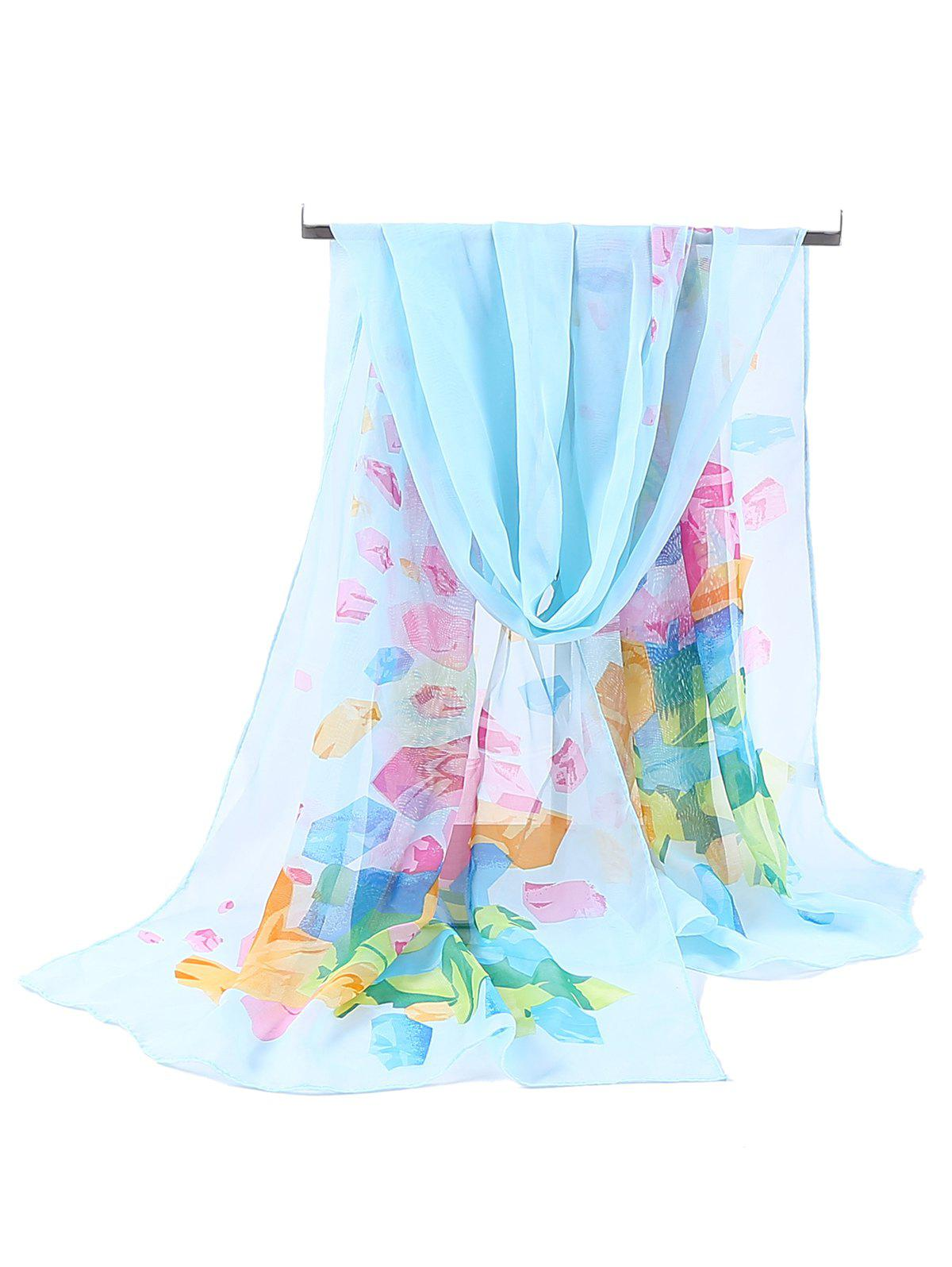 Floral Pattern Printed Chiffon Spring Fall Scarf - WINDSOR BLUE