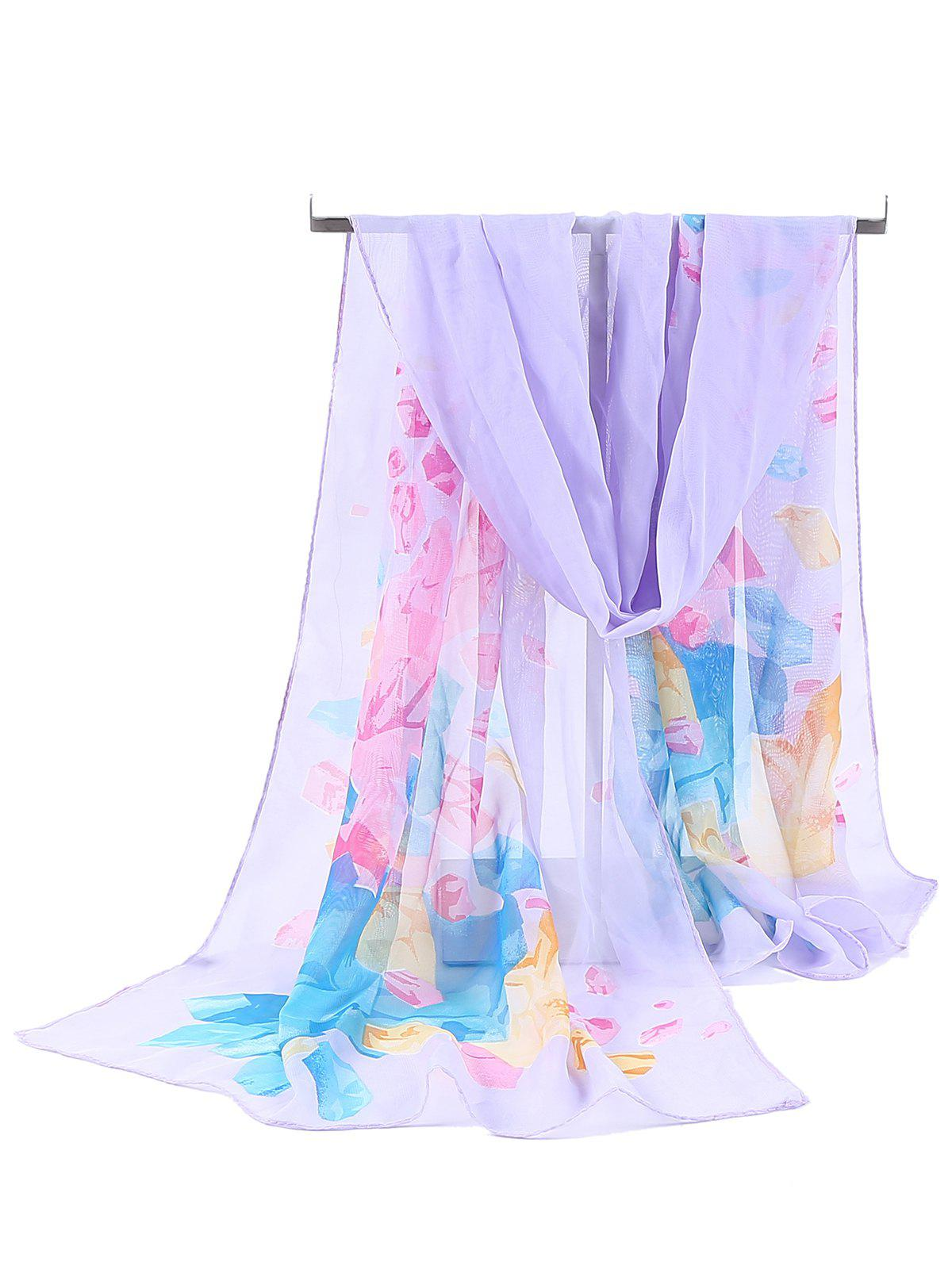 Floral Pattern Printed Chiffon Spring Fall Scarf - LIGHT PURPLE