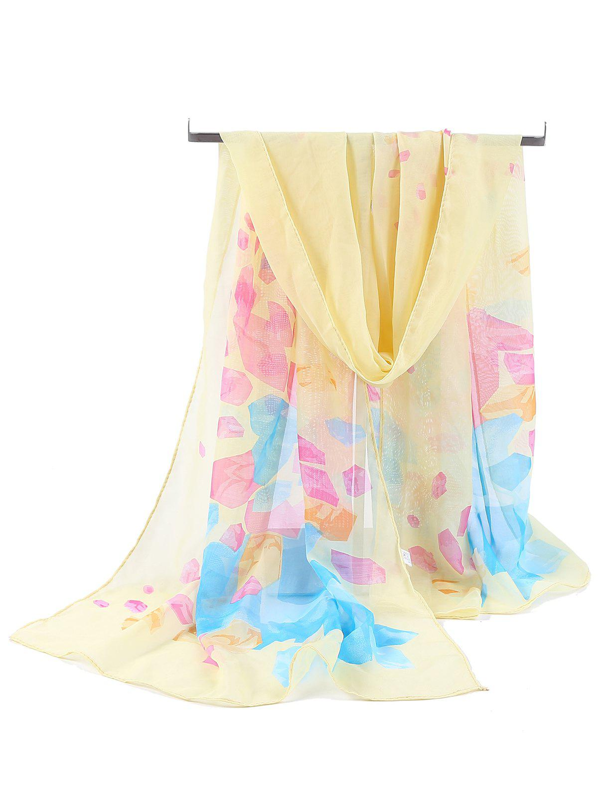 Floral Pattern Printed Chiffon Spring Fall Scarf - YELLOW