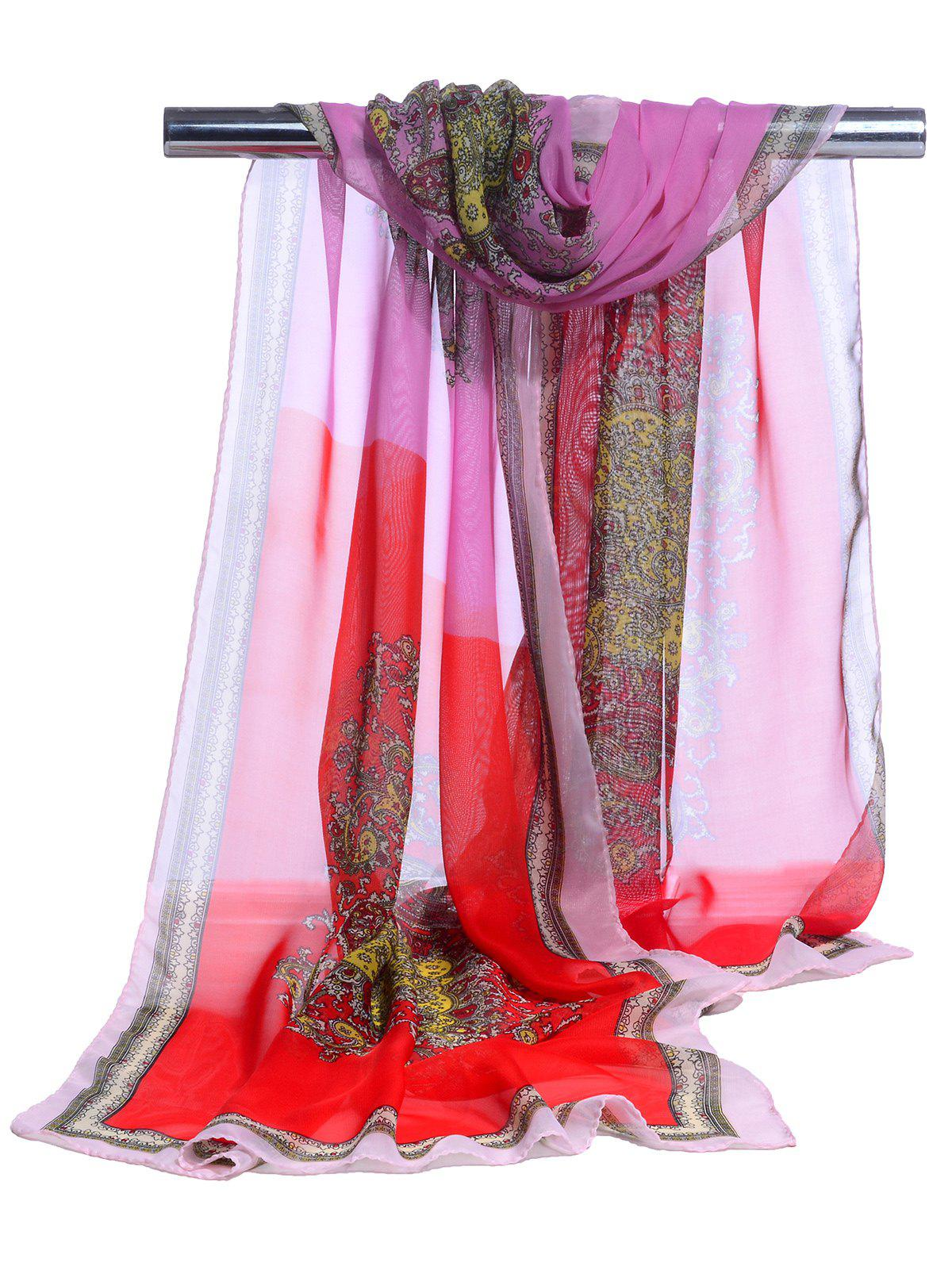 Lightweight Floral Pattern Silky Chiffon Scarf - RED