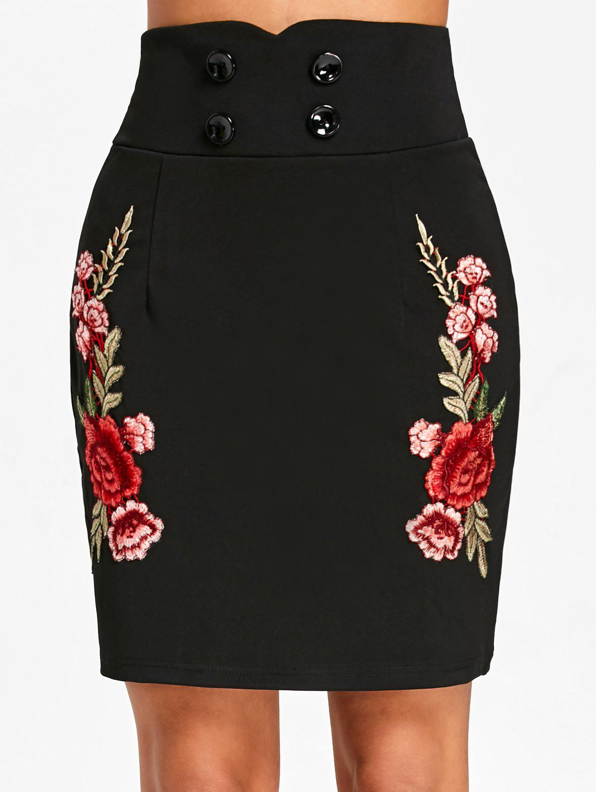 Flower Embroidered Applique High Waist Skirt - BLACK L
