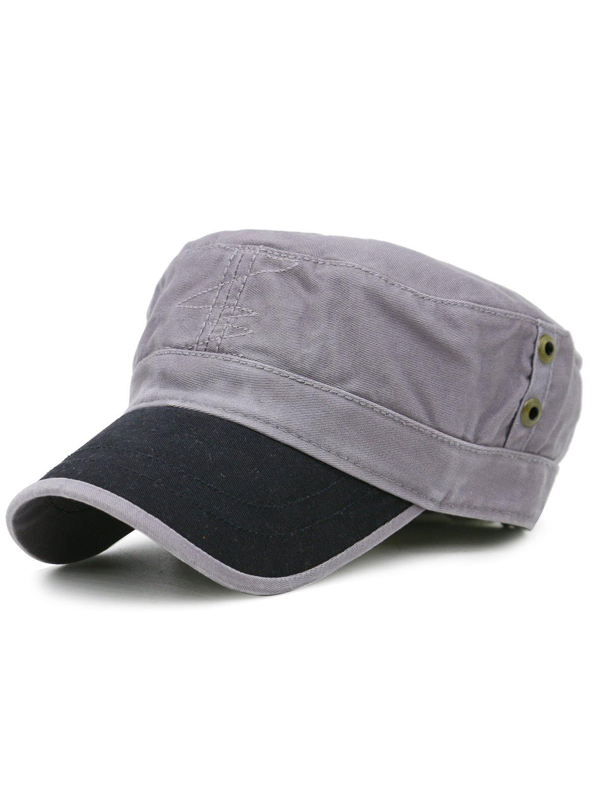 Line Embroidery Adjustable Army Hat - GRAY