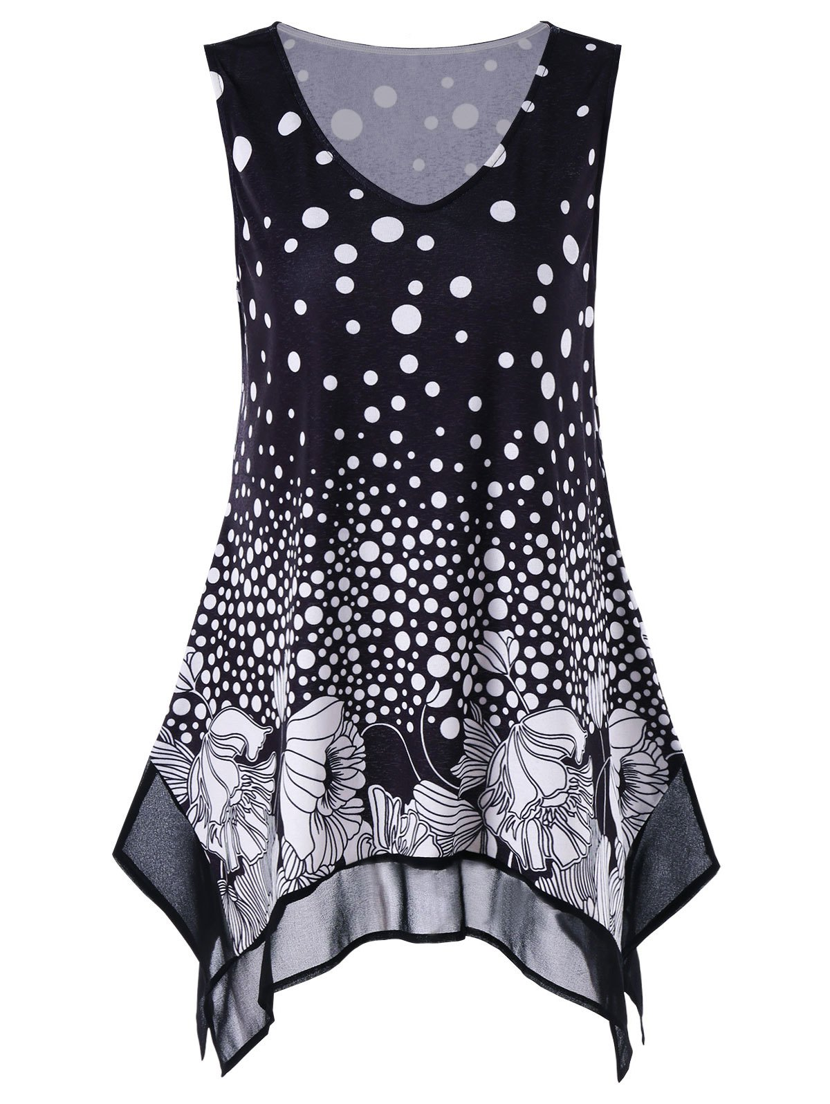 Plus Size Polka Dot Floral Tunic Tank Top plus size polka dot button tank top