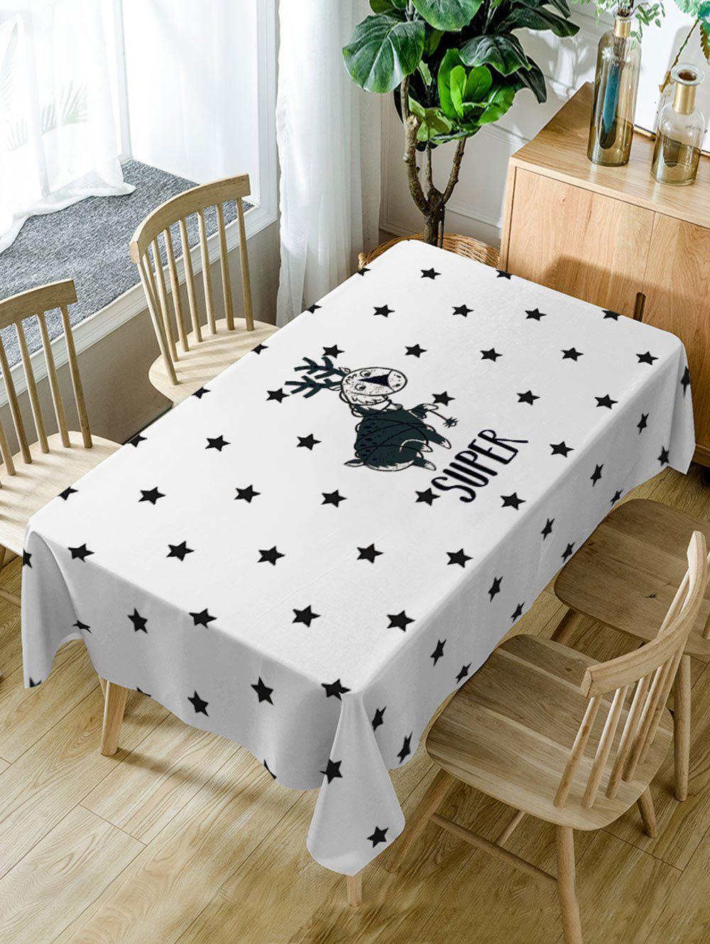 Deer and Stars Print Waterproof Table Cloth - WHITE W54 INCH * L54 INCH
