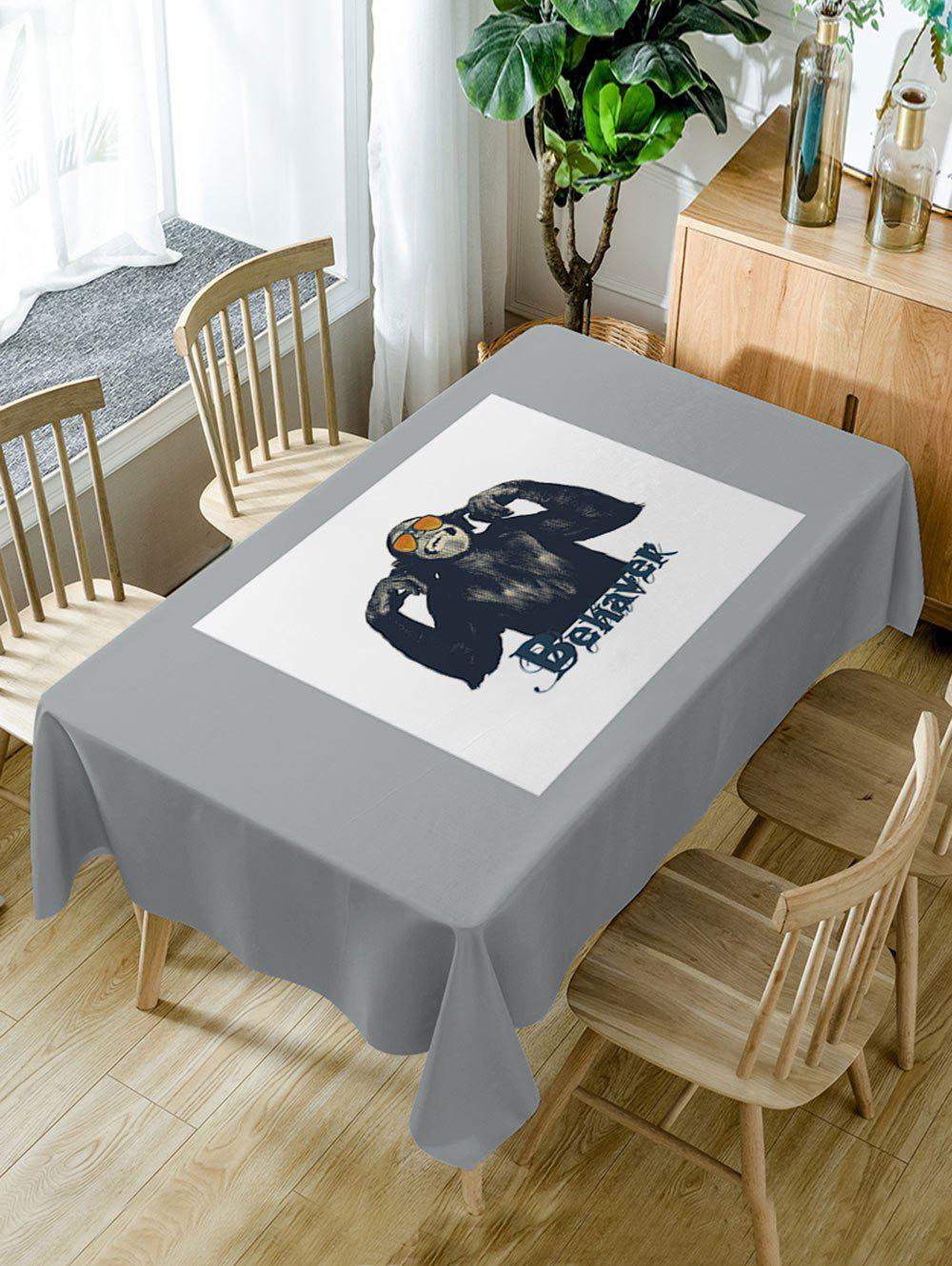Gorilla Print Waterproof Table Cloth - GRAY W60 INCH * L84 INCH