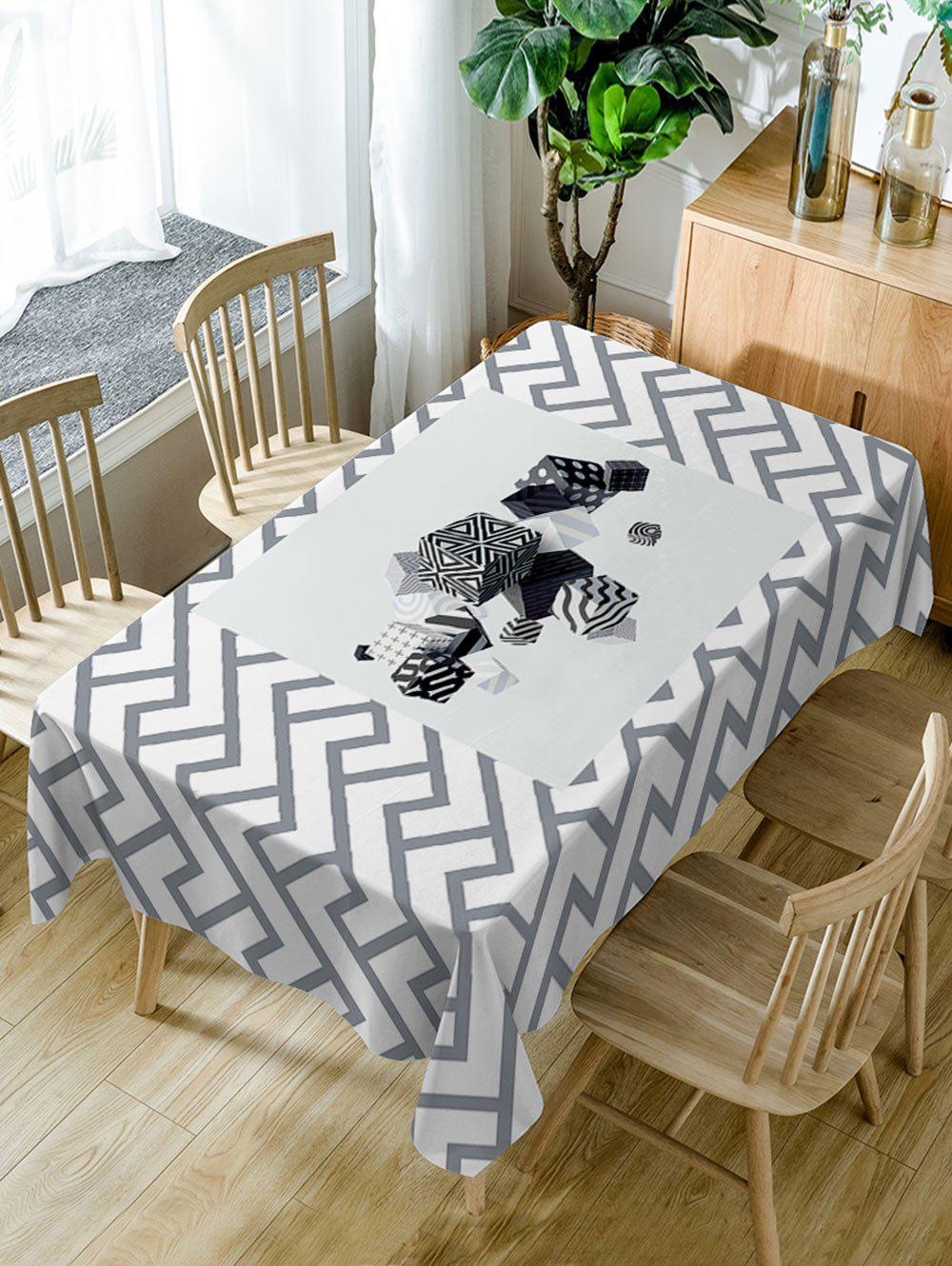 Cube Print Waterproof Table Cloth - WHITE W54 INCH * L72 INCH