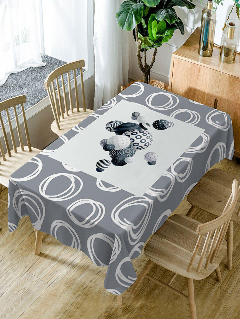 Ball Print Waterproof Table Cloth - GRAY W54 INCH * L72 INCH