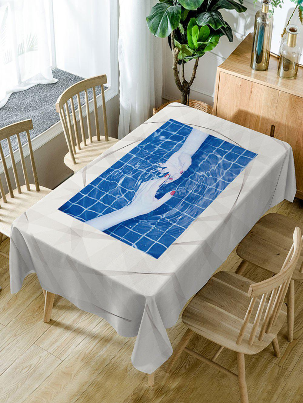 Hand In Hand Print Waterproof Table Cloth - BLUE W54 INCH * L72 INCH