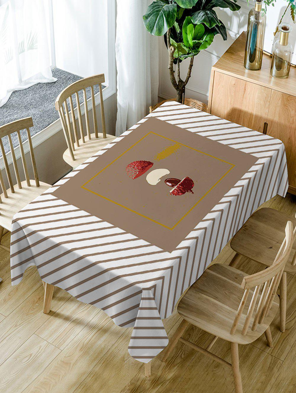 Litchi Stripe Print Waterproof Table Cloth - LIGHT COFFEE W60 INCH * L84 INCH