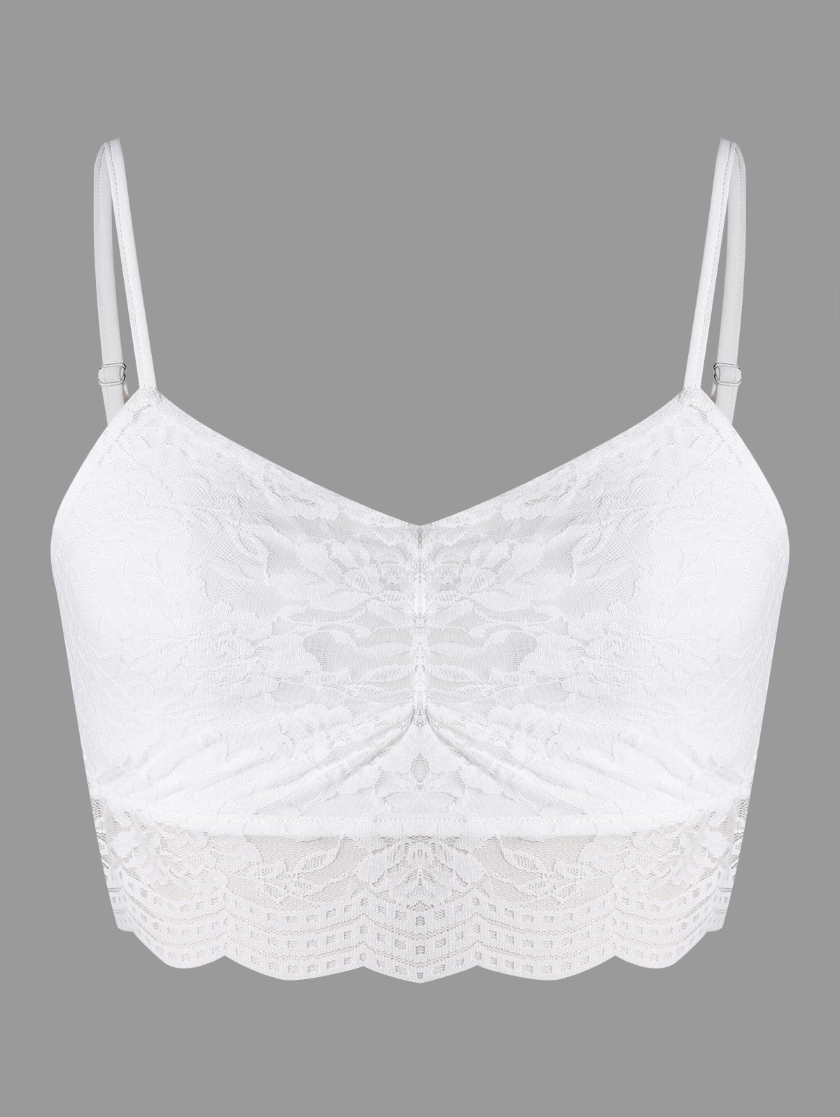 Spaghetti Straps Cropped Lace Top - WHITE L