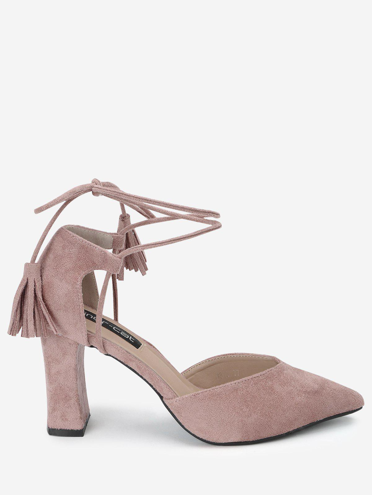 Tassel Block Heel Sandals - PINK 38