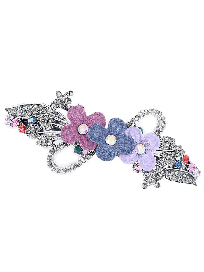 Floral Rhinestone Inlaid Embellished Barrette - COLORFUL