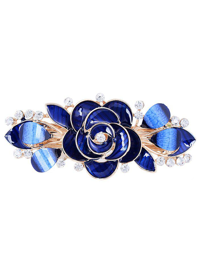 Vintage Flower Rhinestone Inlaid Barrette - BLUE