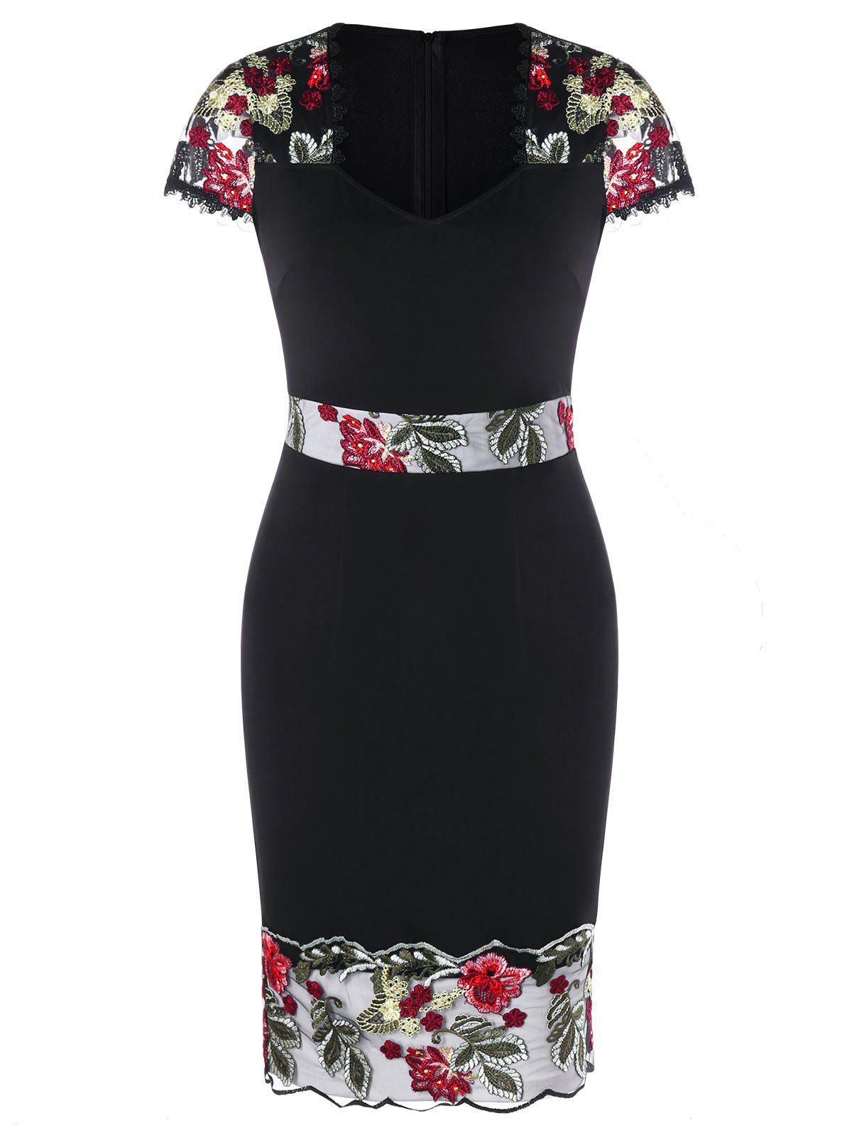 Embroidery V Neck Sheath Dress - BLACK L