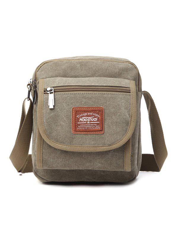 Zip Canvas Sling Bag - ARMY GREEN