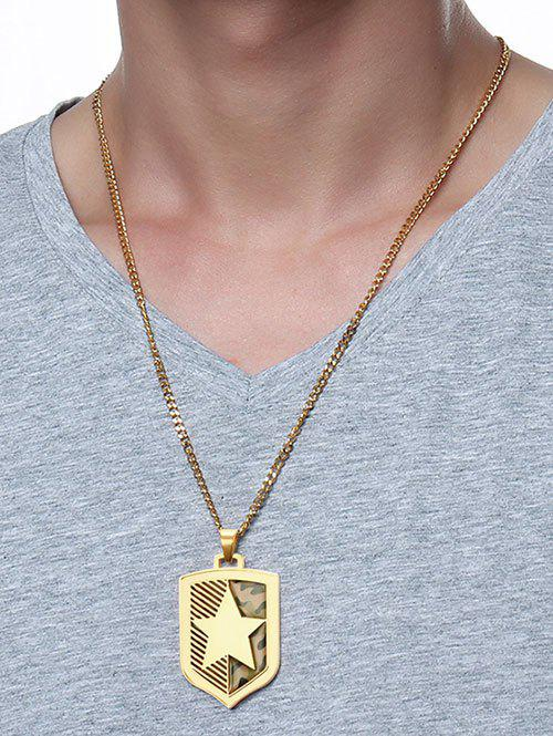 Camouflage Pattern Star Shield Pendant Necklace - GOLDEN