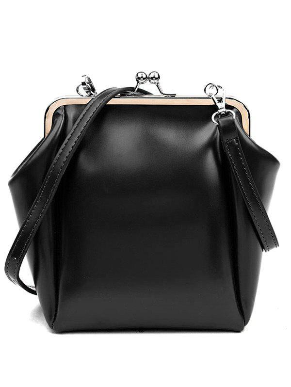 Faux Leather Metal Crossbody Bag - BLACK