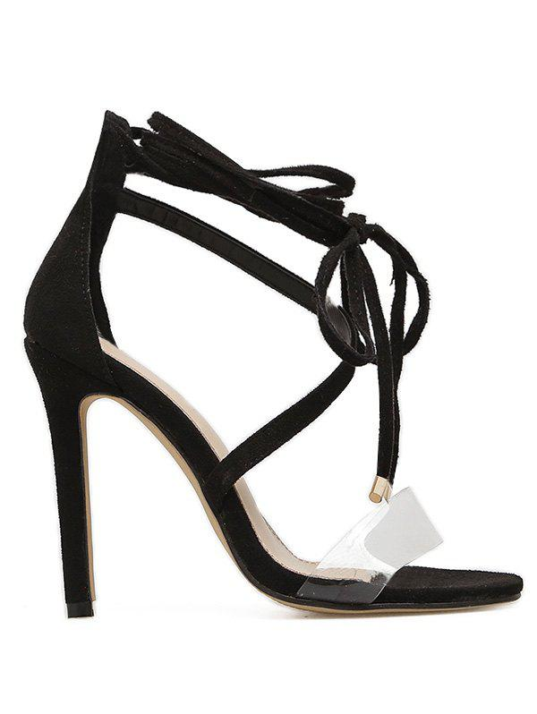 Transparent Strap Stiletto Heel Sandal - BLACK 38