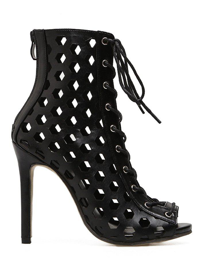 Lace Up Hollow Out Bootie Sandals - BLACK 36