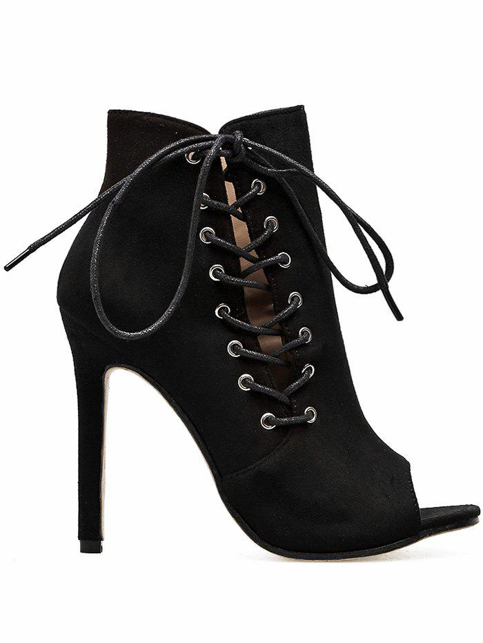 Side Lace Up Stiletto Heel Bootie Sandals - BLACK 35