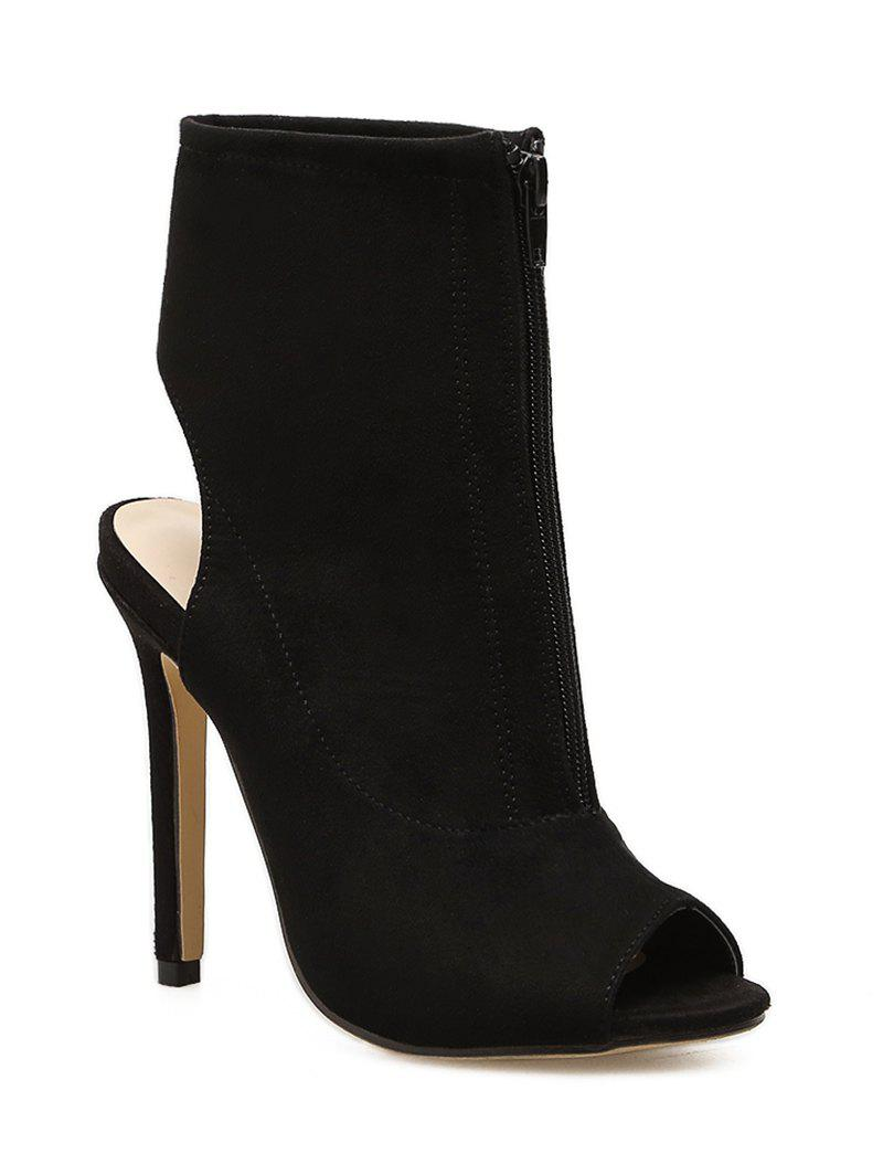 Front Zip Faux Suede Bootie Sandals - BLACK 40