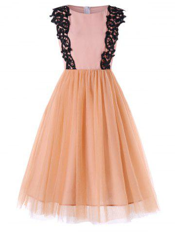 Chiffon Panel High Waist Sleeveless Dress