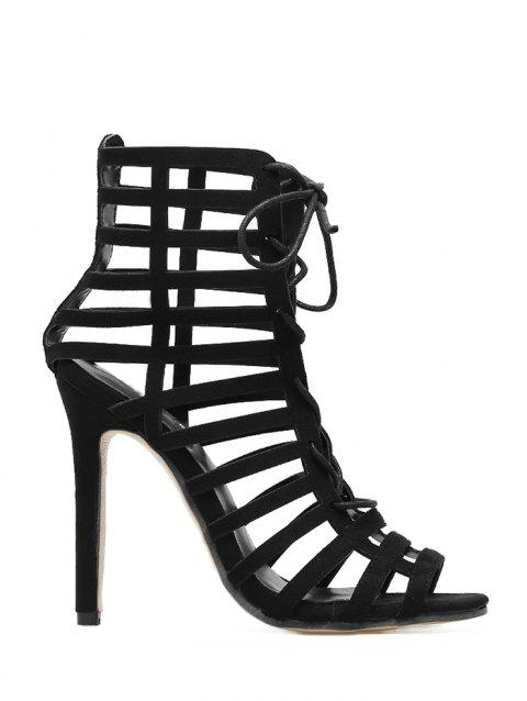 Hollow Out Stiletto Heel Gladiator Sandals - BLACK 36