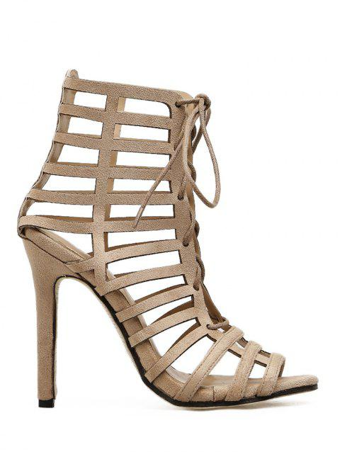 Hollow Out Stiletto Heel Gladiator Sandals - APRICOT 39