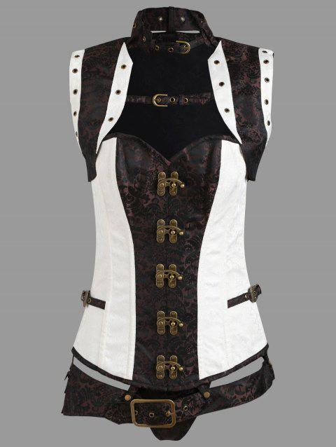 Brocade Vintage Cincher Lace-up Corset - CAPPUCCINO 2XL
