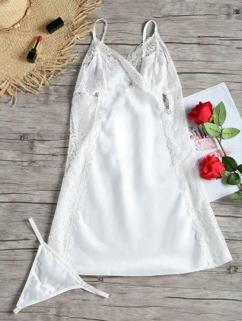 Lace Insert Low Back Slip Babydoll - WHITE 2XL