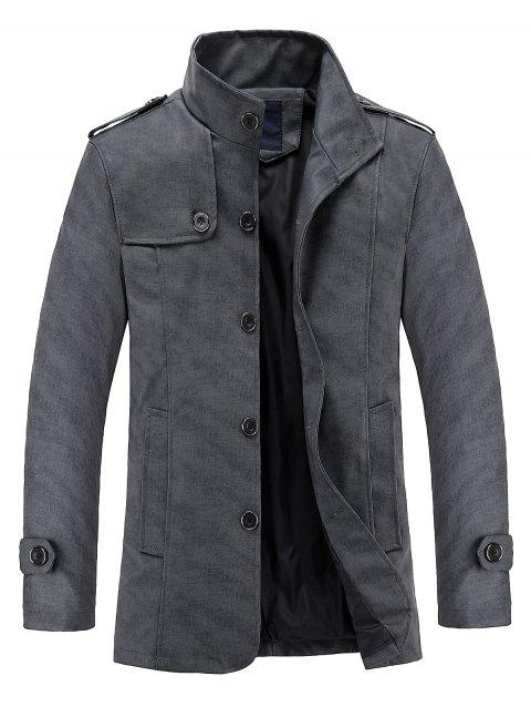 Stand Collar Casual PU Leather Jacket - DARK GRAY 4XL