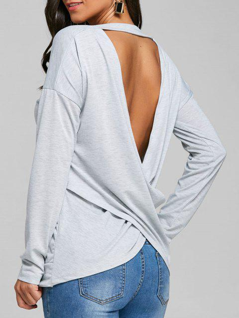 V-neck Cut Out Wrap Back T-shirt - GRAY S