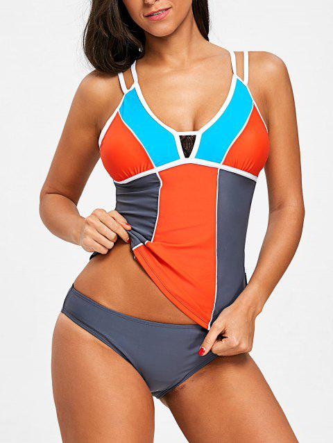 Ensemble De Tankini à Empiècement Dentelle En Blocs De Couleurs - multicolore 2XL