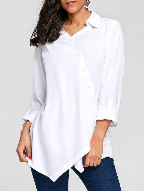 Crossover Button Up Asymmetric Blouse - WHITE 2XL