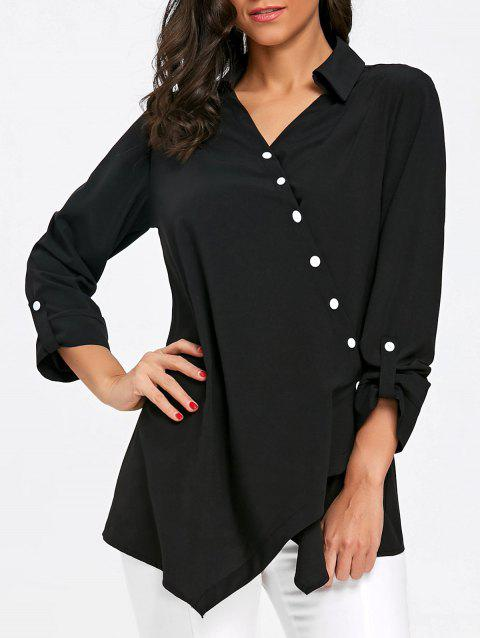 Crossover Button Up Asymmetric Blouse - BLACK L