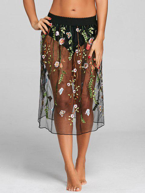Mesh Sheer Floral Embroidery Cover Up Skirt - BLACK ONE SIZE